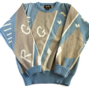 Vintage Van Cort Powder Blue & Tan Knit Sweater